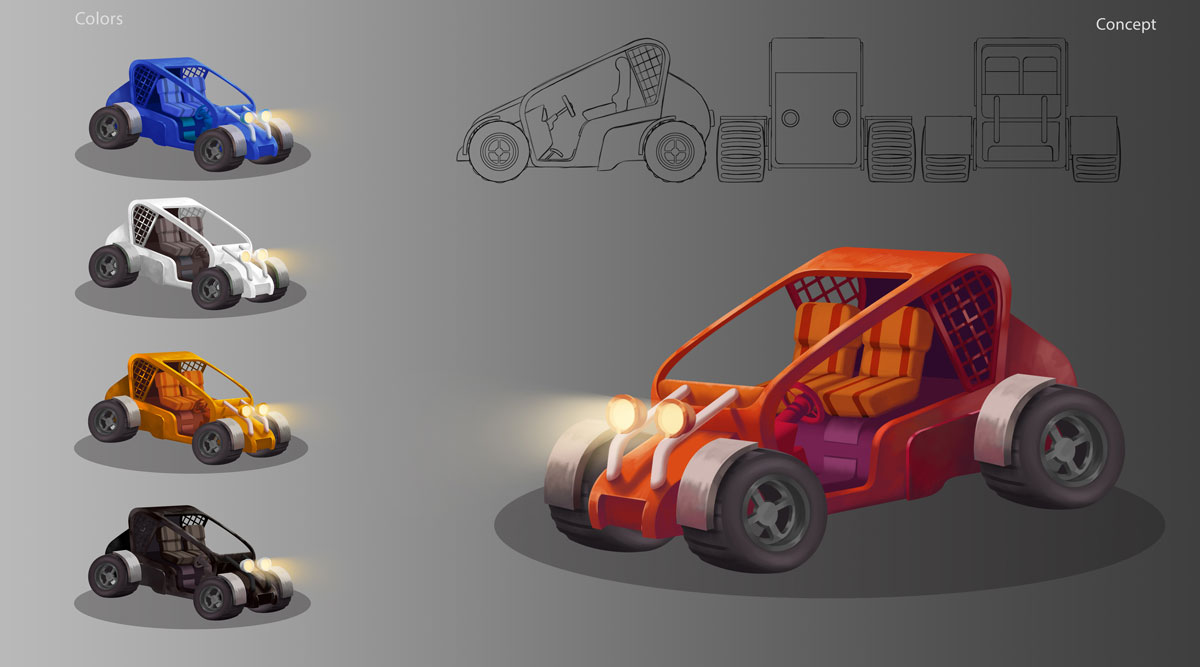 3D Game Car Design Model Sheet Concept Art