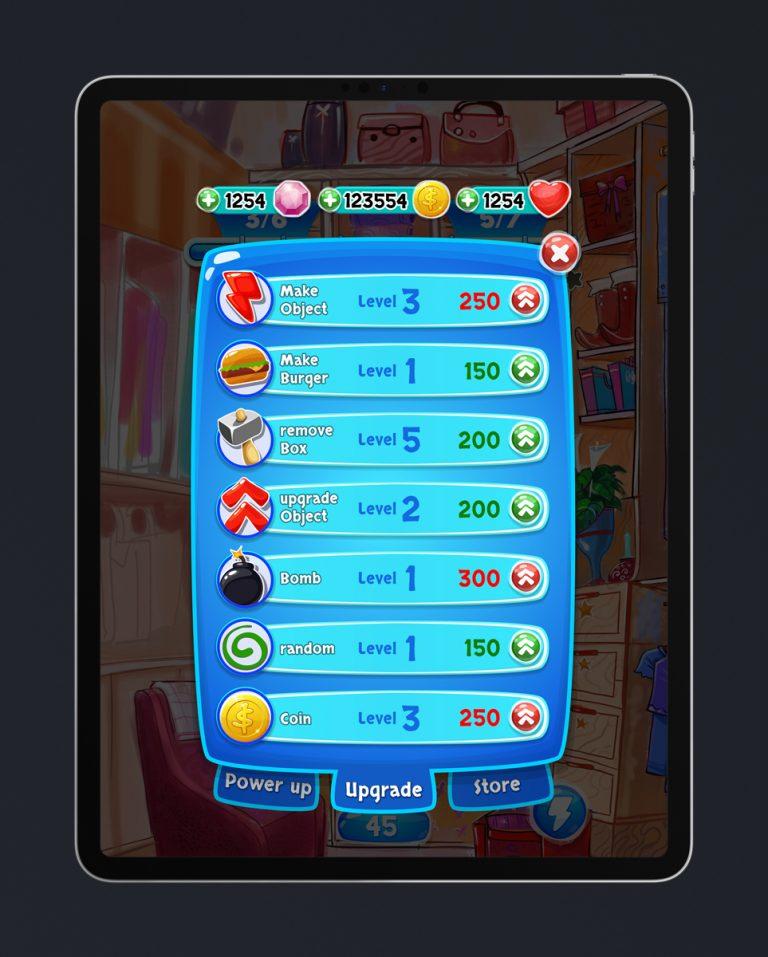 Match 3 Mobile Game Glossy UI Design - Upgrade Menu