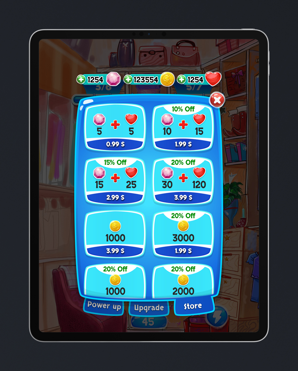 Match 3 Mobile Game Glossy UI Design - Store Menu