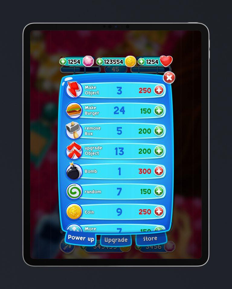 Match 3 Mobile Game Glossy UI Design - Power Ups Menu