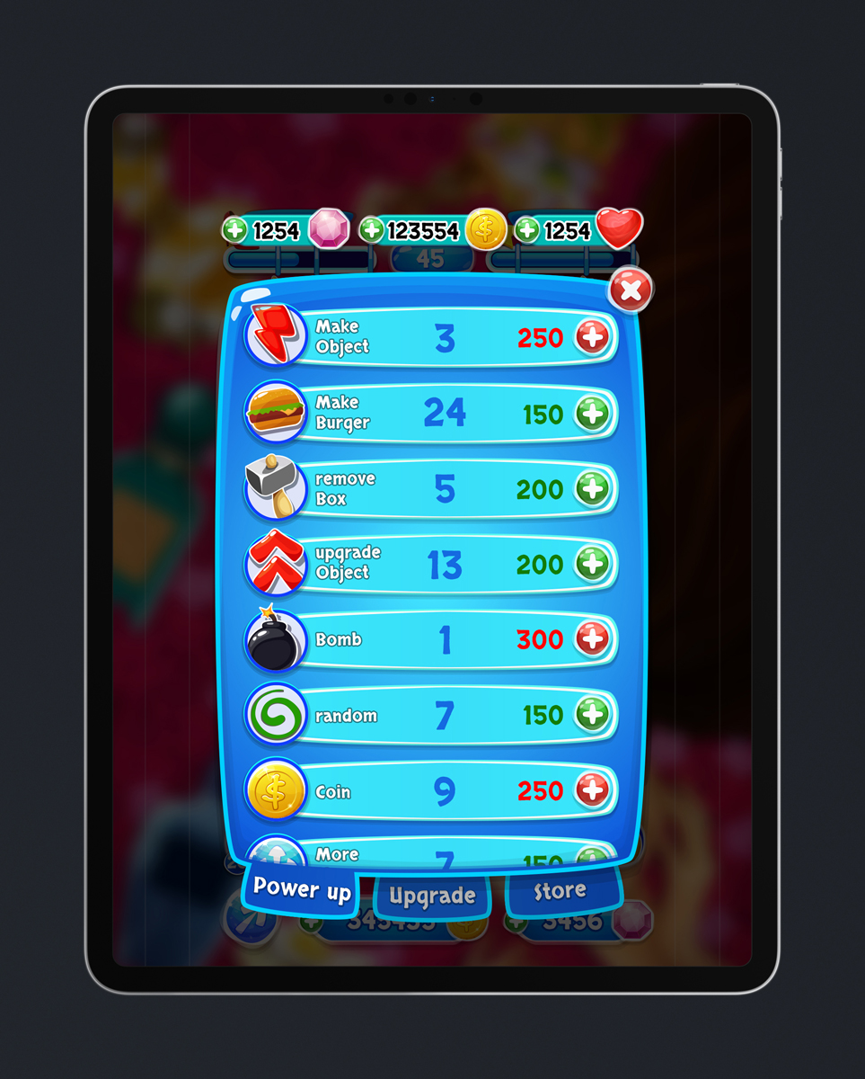 Match 3 Mobile Game Glossy UI Design - Power Ups Menu