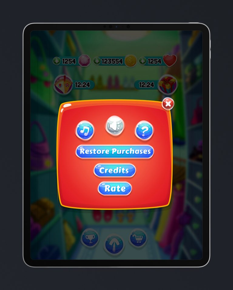 Match 3 Mobile Game Glossy UI Design - Settings Pop Up