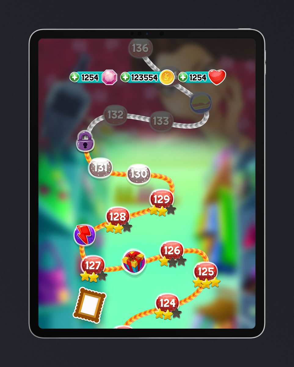 Match 3 Mobile Game Glossy UI Design - Levels Progress