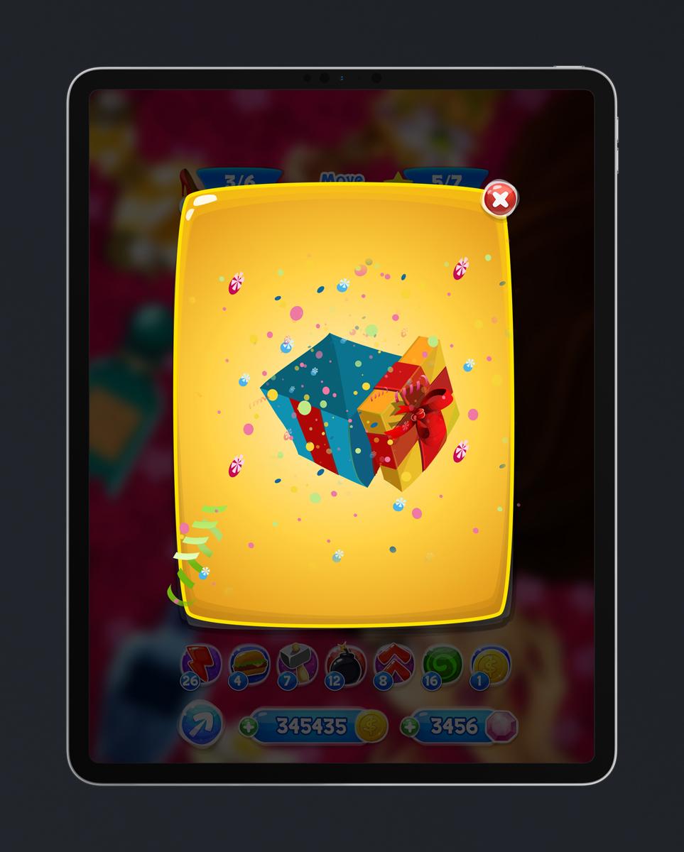 Match 3 Mobile Game Glossy UI Design - Reward Open Pop Up