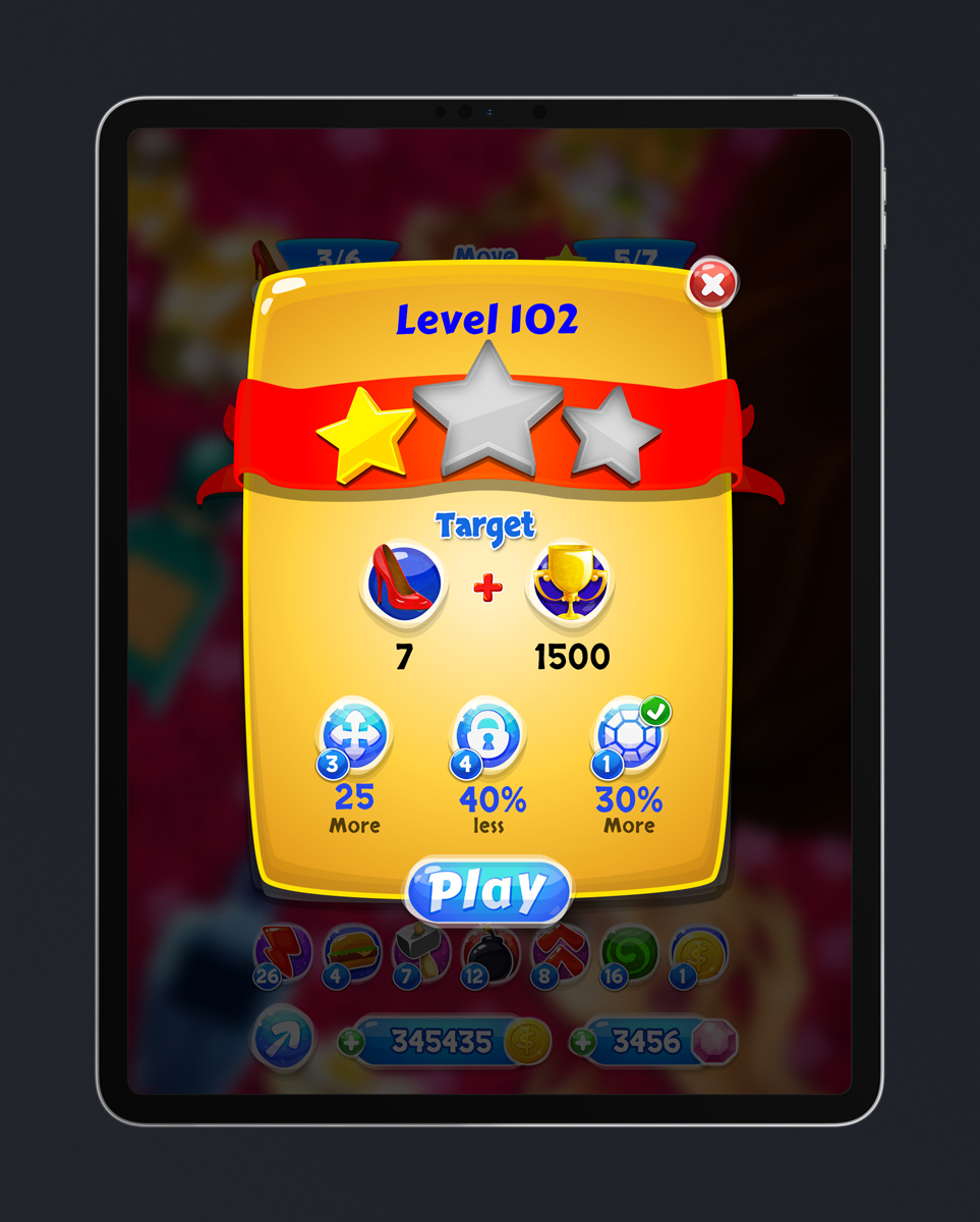 Match 3 Mobile Game Glossy UI Design - Pre-Level Pop Up