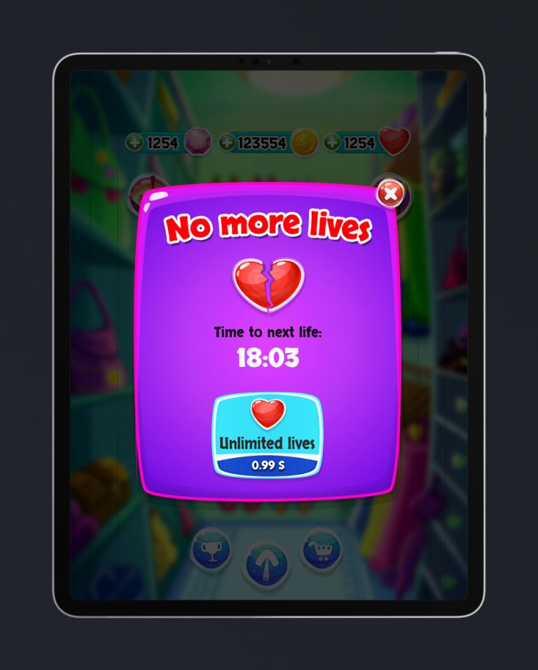 Match 3 Mobile Game Glossy UI Design - No More Mives Pop Up