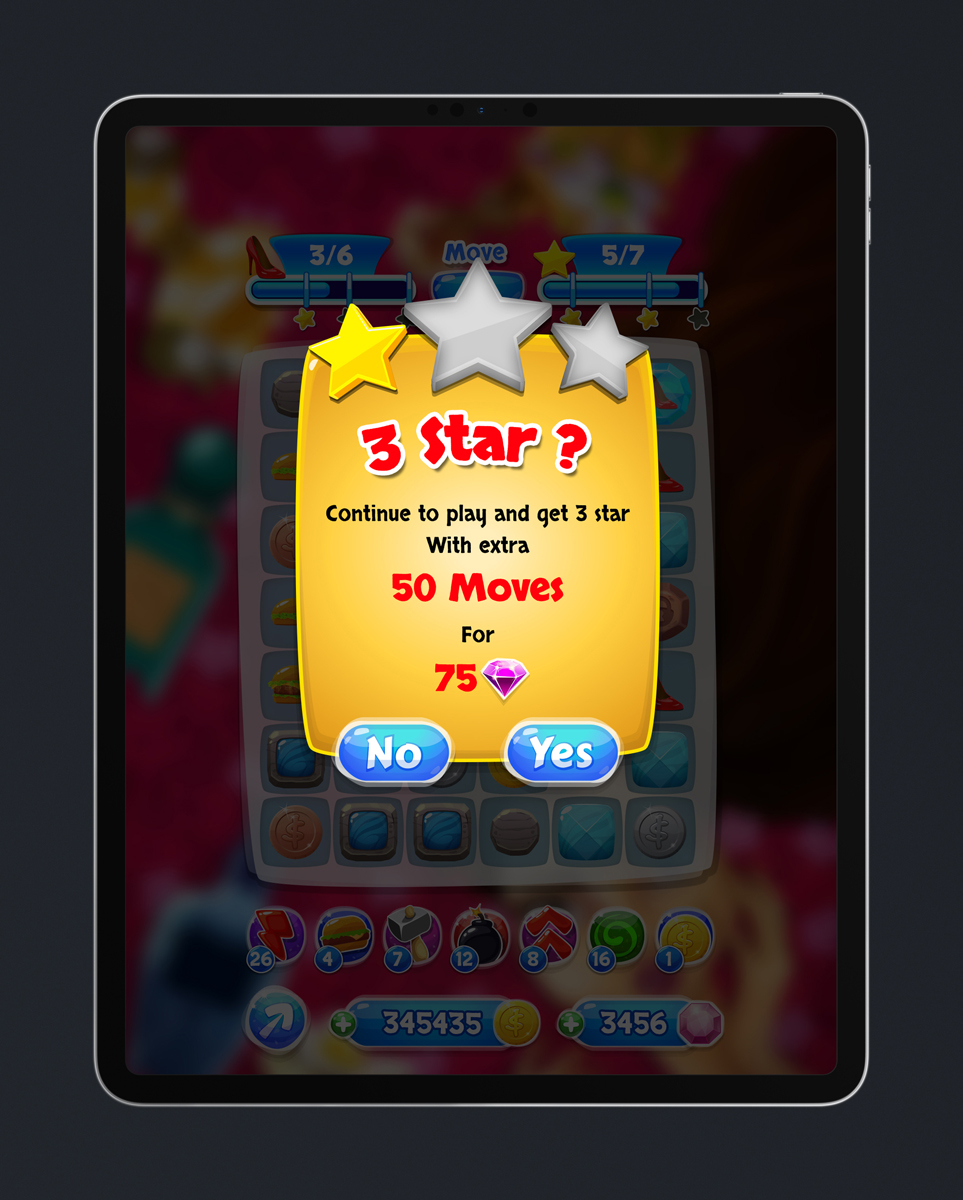 Match 3 Mobile Game Glossy UI Design - Continue Pop Up