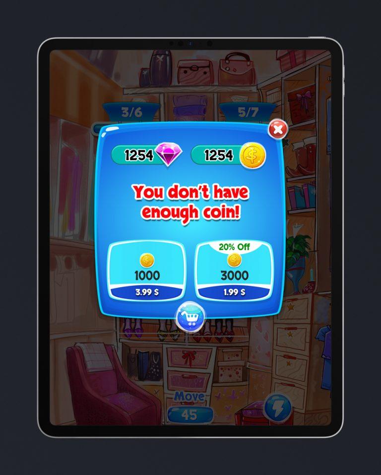 Match 3 Mobile Game Glossy UI Design - No Money Error Pop Up