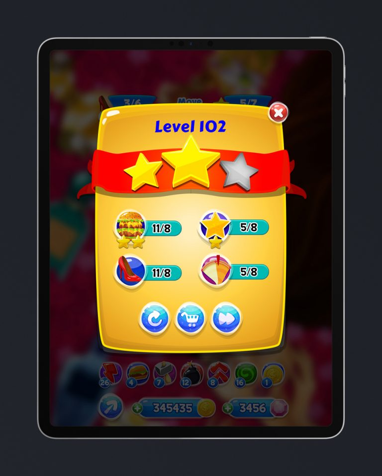 Match 3 Mobile Game Glossy UI Design - Pre-level Menu