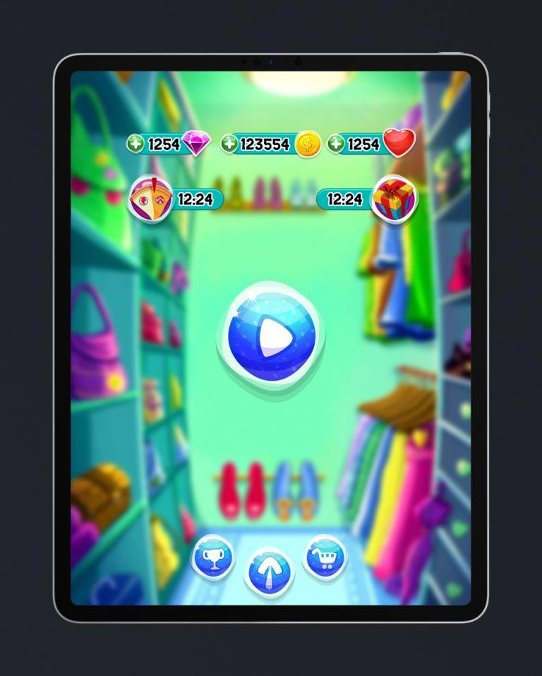 Match 3 Mobile Game Glossy UI Design - Main Menu