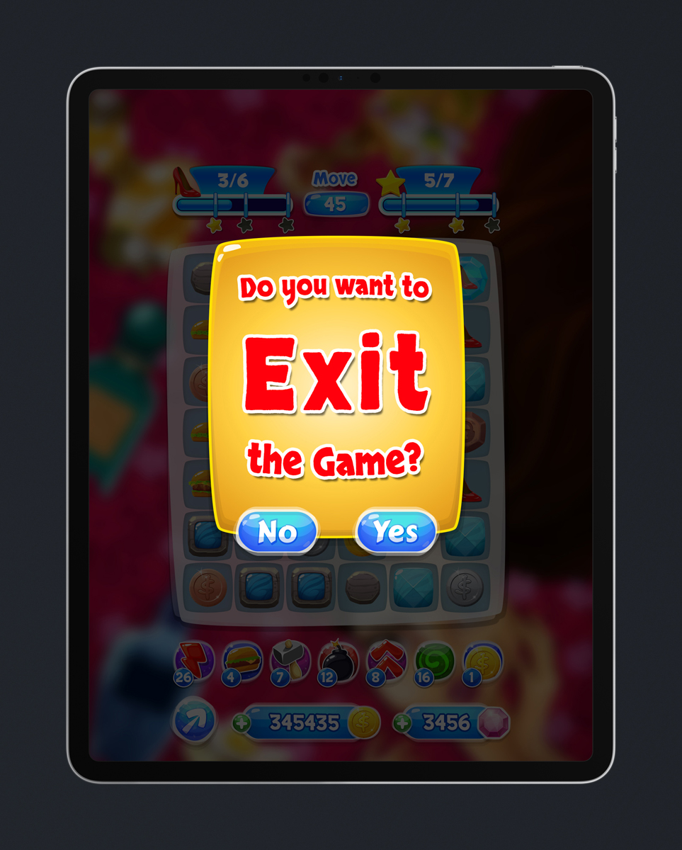 Match 3 Mobile Game Glossy UI Design - Exit Menu