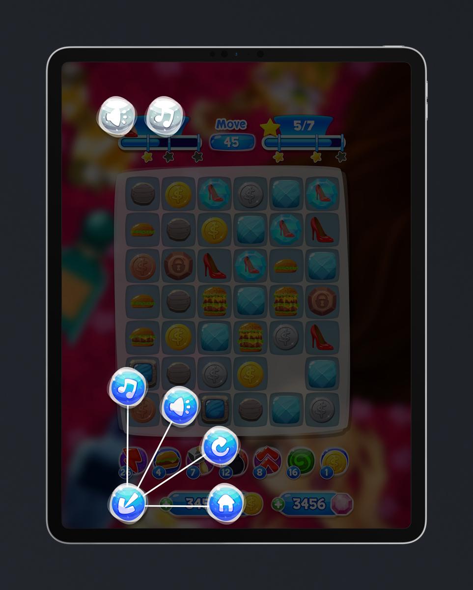 Match 3 Mobile Game Glossy UI Design - Pause Menu