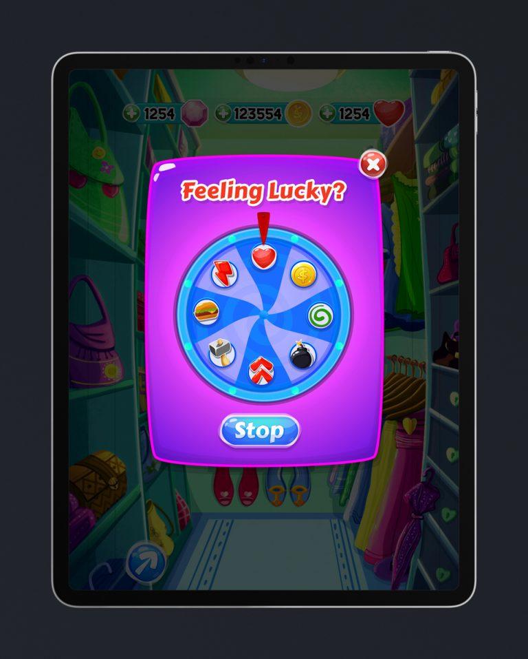 Match 3 Mobile Game Glossy UI Design - Daily Chance Menu