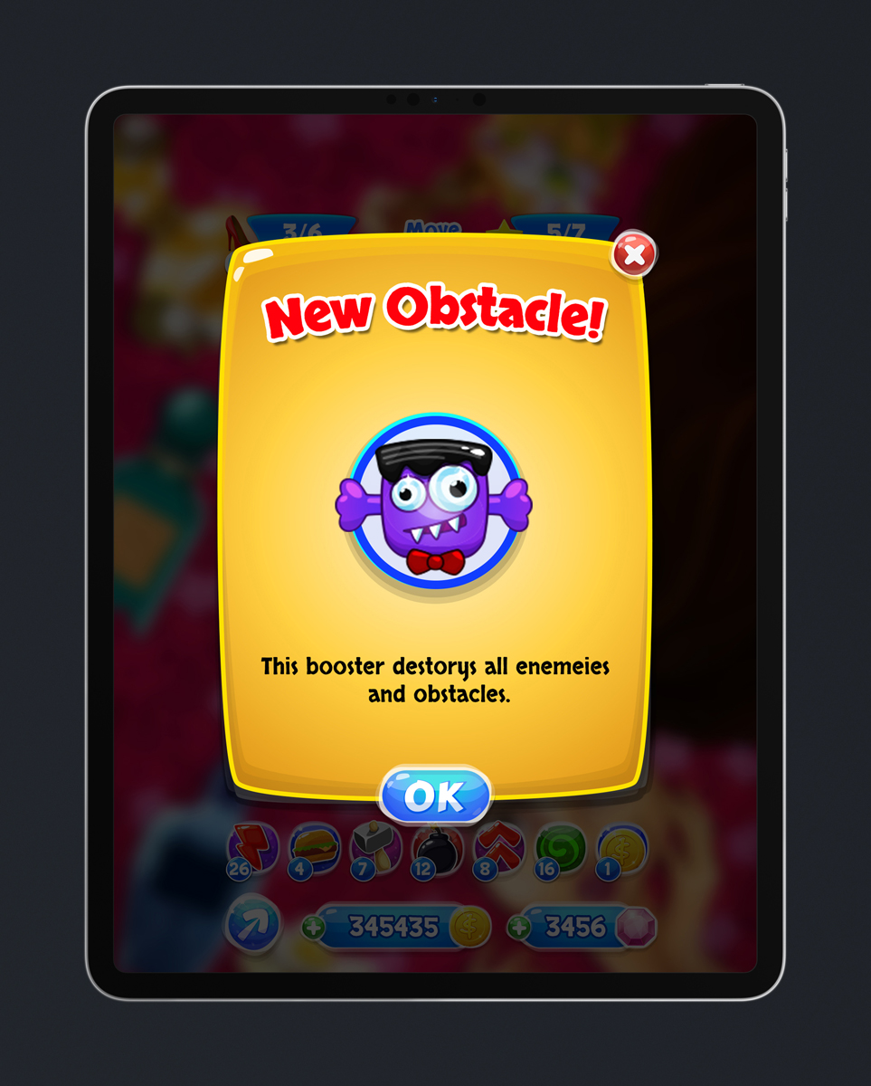 Match 3 Mobile Game Glossy UI Design - New Obstacle Pop Up