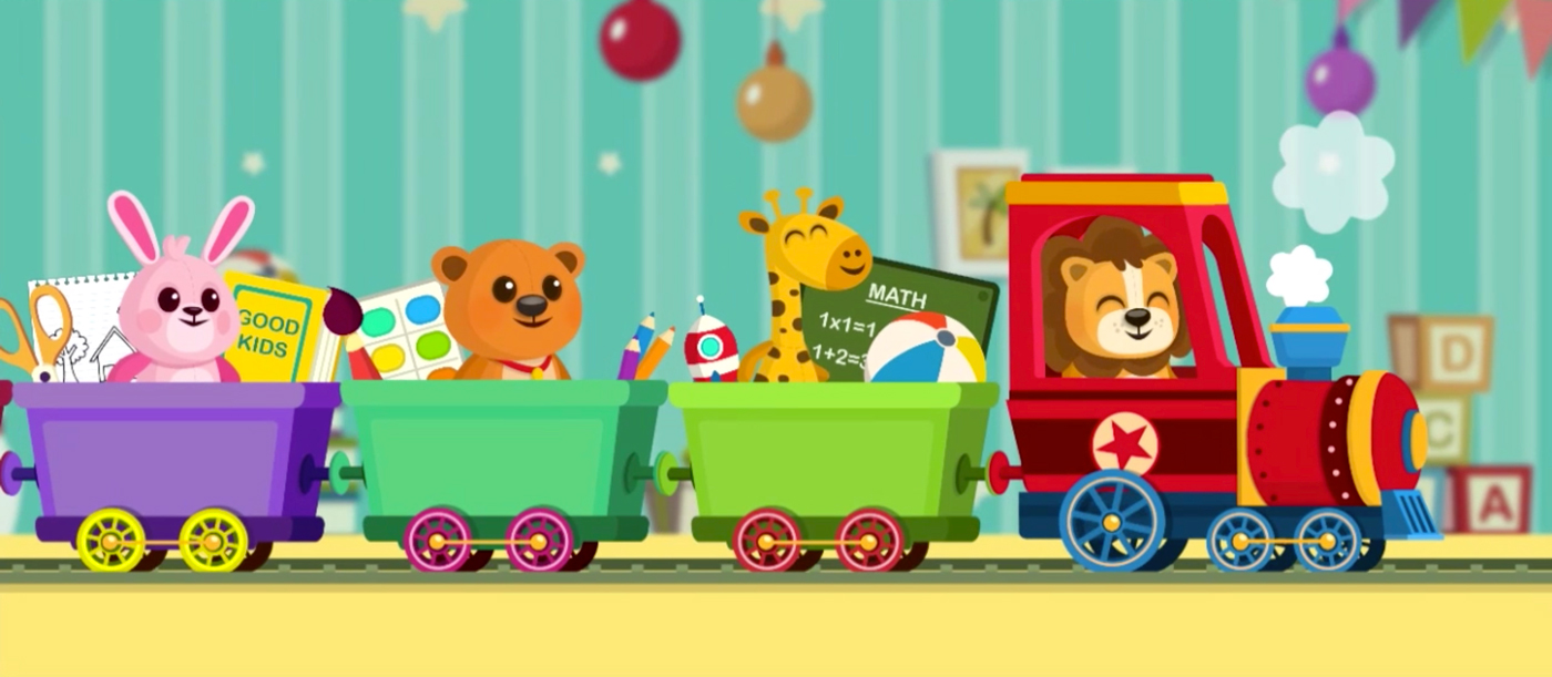 Lion, Bear, Rabbit, Giraffe are riding a toy train in child's room - Children's educational game vector background design