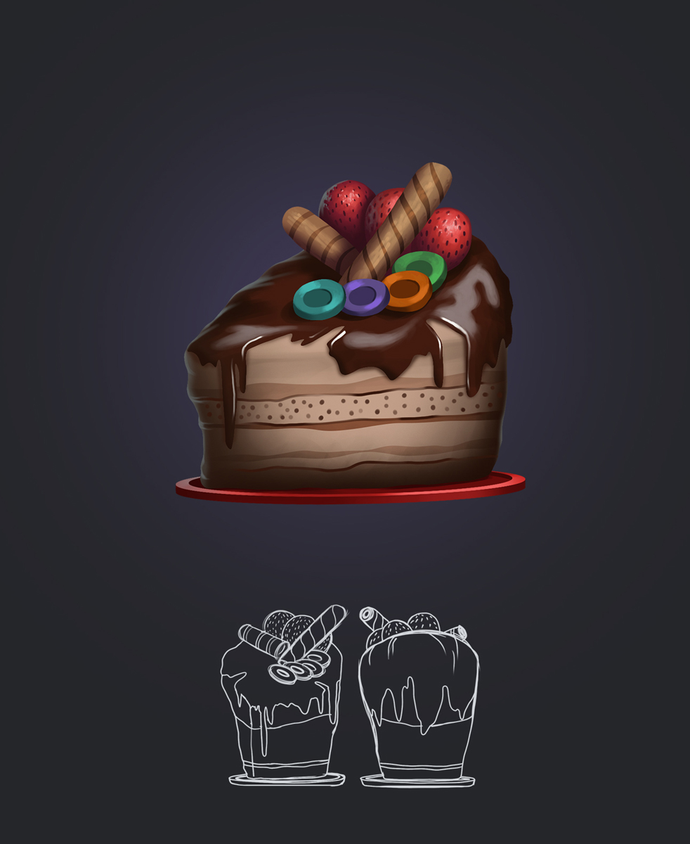 Cake Game Weapon Design and Model Sheet
