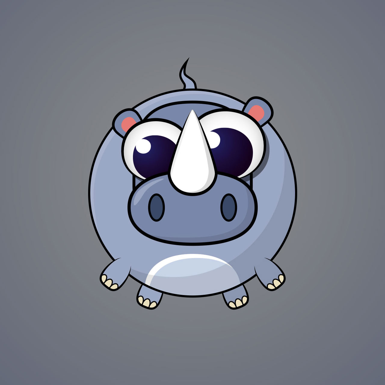 Hippo Minimal Vector Character Design For A Casual Mobile Game