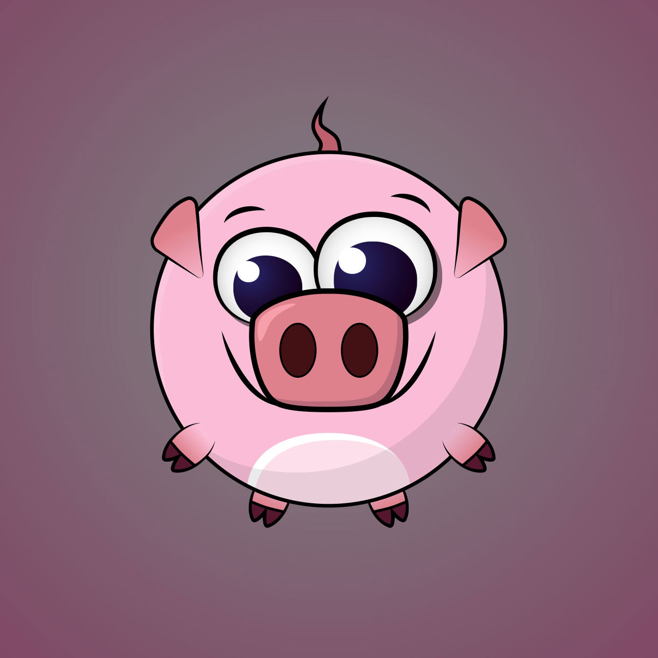 Pig Minimal Vector Character Design For A Casual Mobile Game