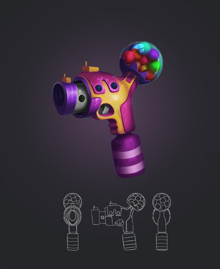 Color Balls Shooter Game Weapon Design and Model Sheet