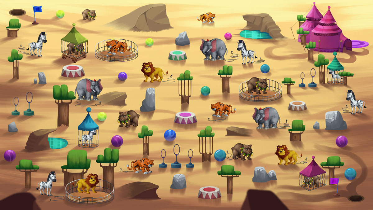 2D Game Environment Design - Circus in zoo (tents, carousel, cannon, springs, zebras, lions, bears, elephants, tigers)