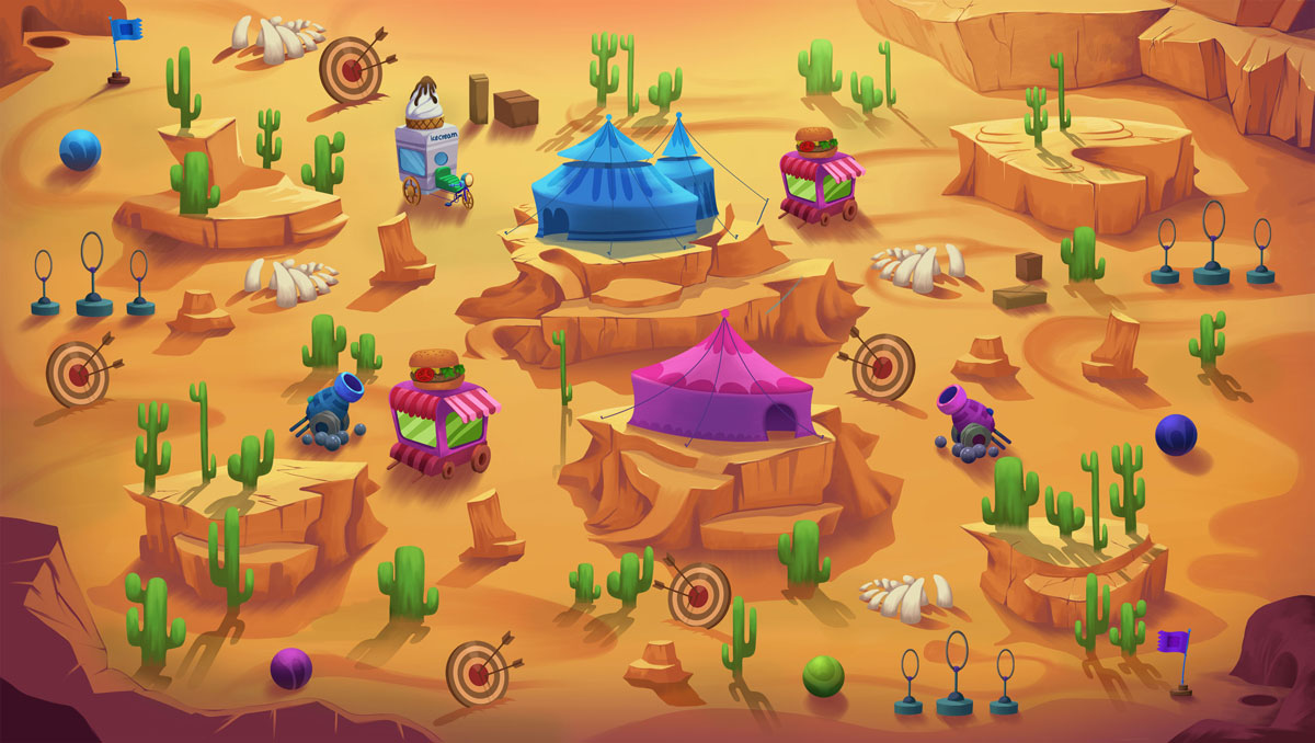 2D Game Environment Design - Circus in desert (tent, carousel, cannon, springs, burger & ice cream stand)