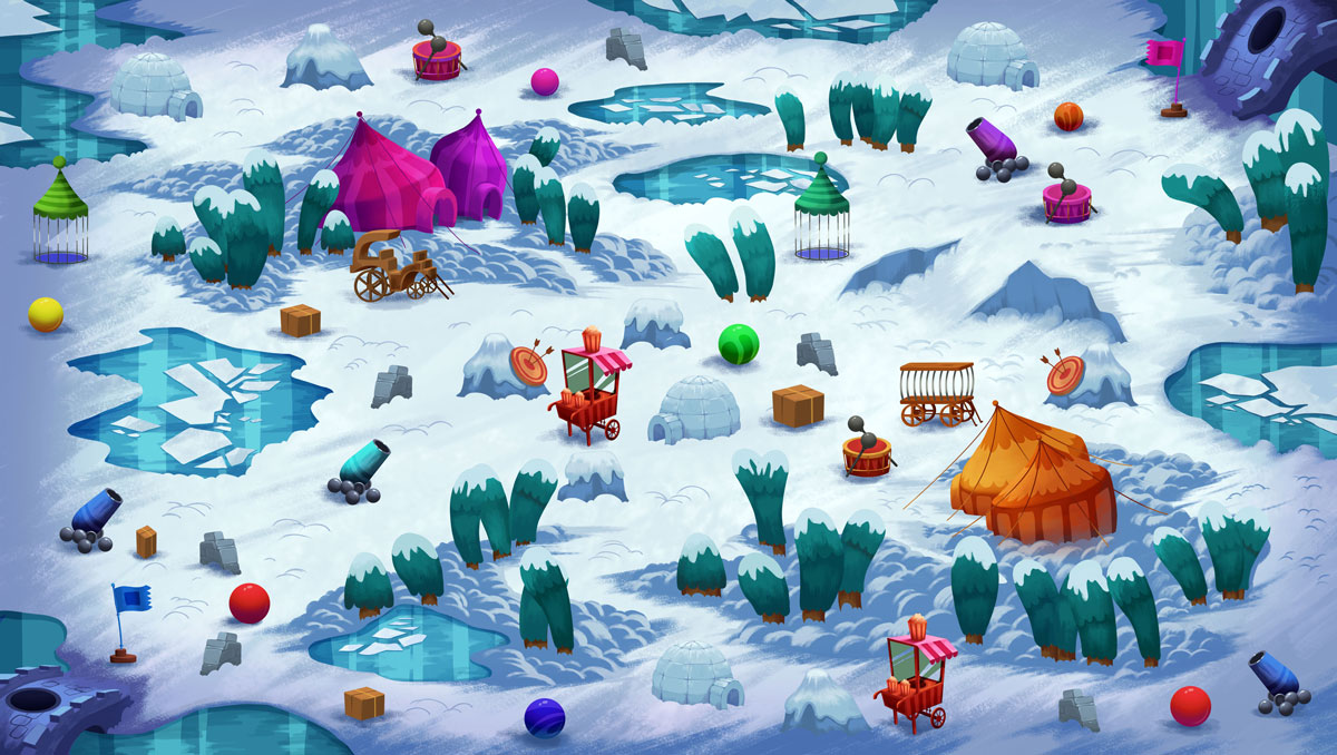 2D Game Environment Design - Circus in North Pole (tent, cannon, springs, drum)