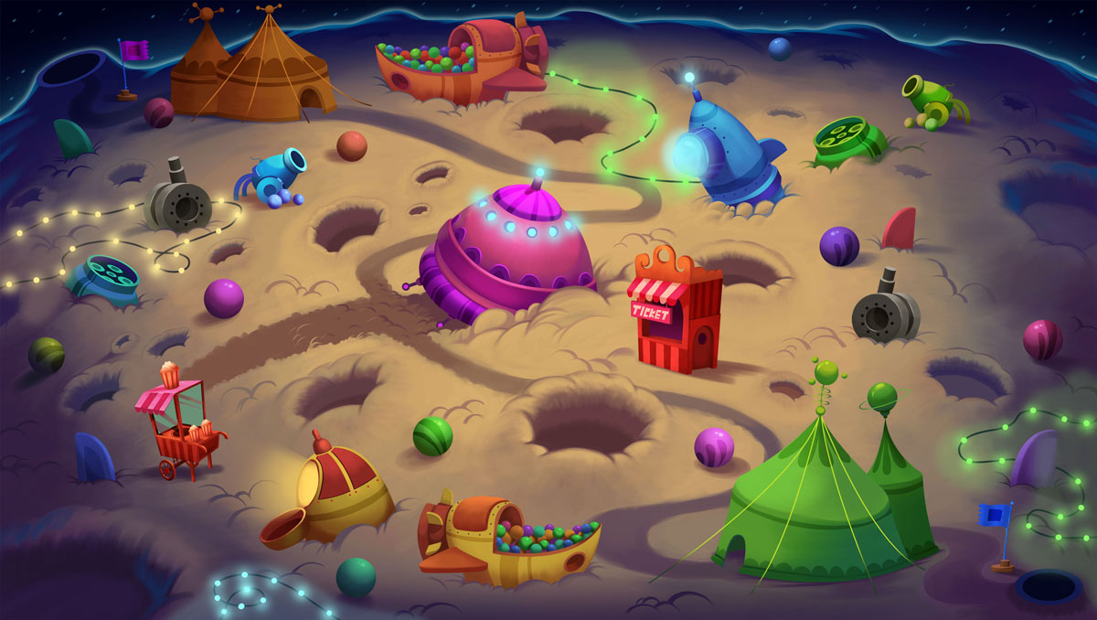 2D Game Environment Design - Circus on moon full of objects (tents, cannons, springs, drums, boxes, chests)