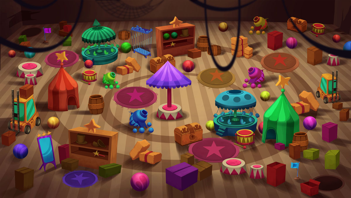 2D Game Environment Design - Circus warehouse full of objects (tents, cannons, springs, drums, boxes, chests)