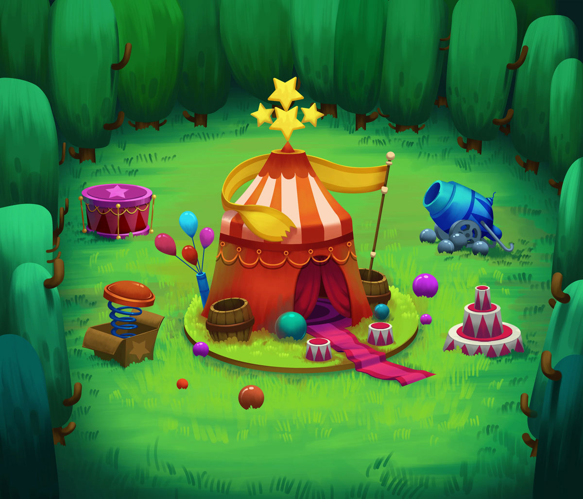 2D Game Environment Design - Circus in nature (tent, cannon, springs, drum)