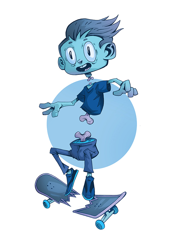Zombie boy skating surreal 2D illustration