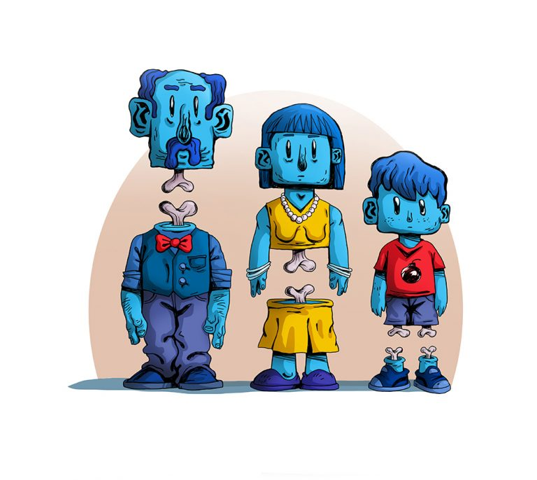 Zombie Family (Man, Wife, Son) Surreal 2D Illustration