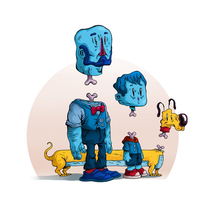 Zombie Man, Son and Pet Dog 2D Illustration