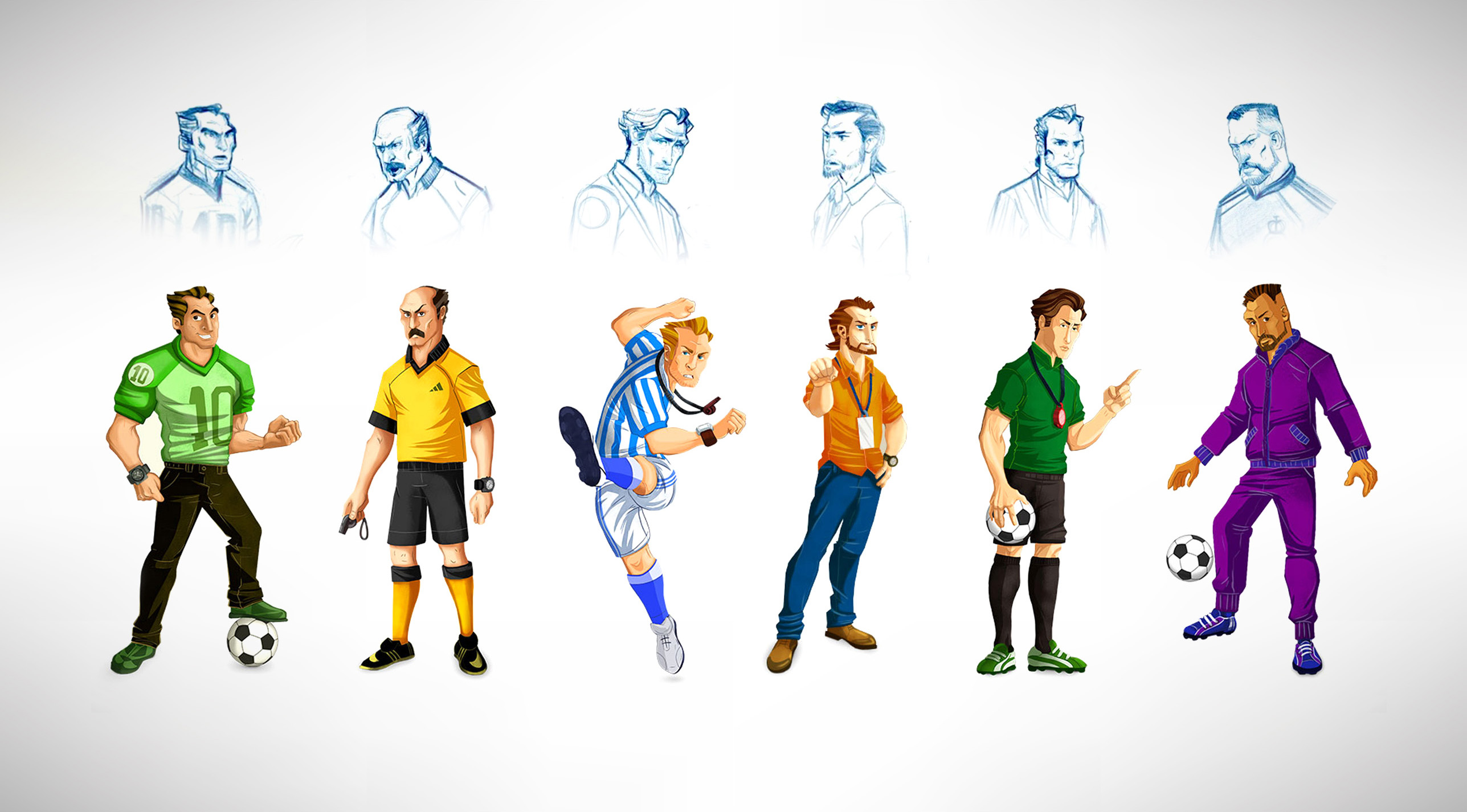 Soccer Players Game Character Designs