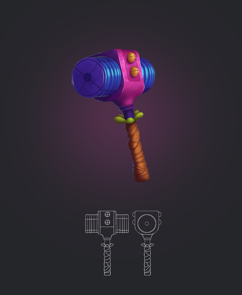 Funny Hammer Game Weapon Design and Model Sheet