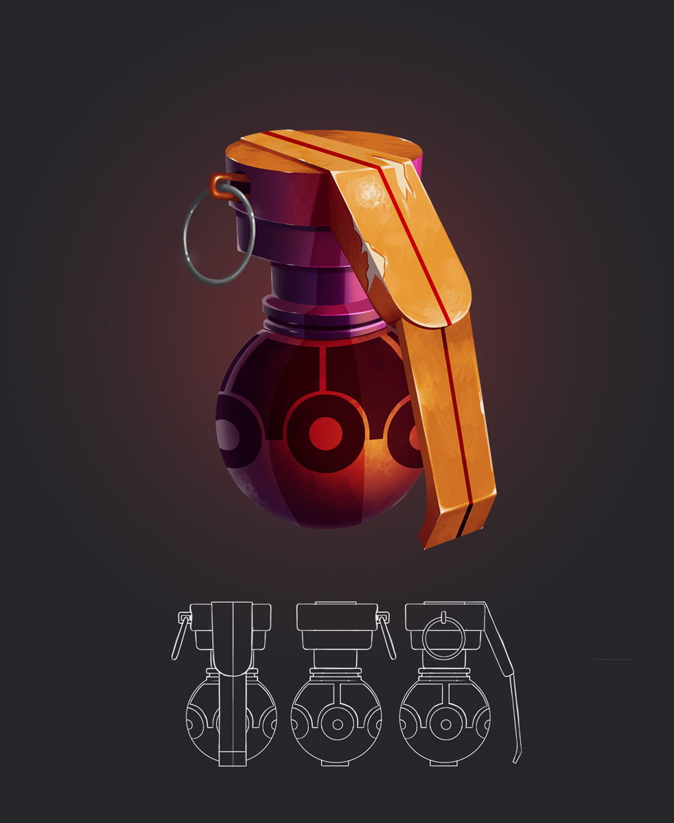 Grenade Game Weapon Design and Model Sheet