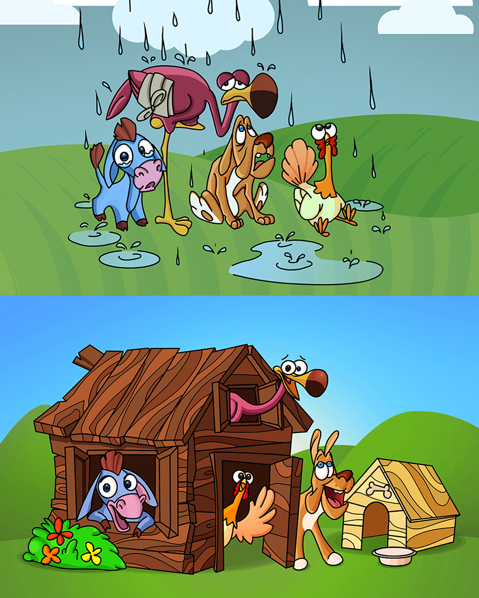 Homeless Animals ( Dog Dunkey Stork Turkey ) Find Shelter Animal Character Design 2D Illustration