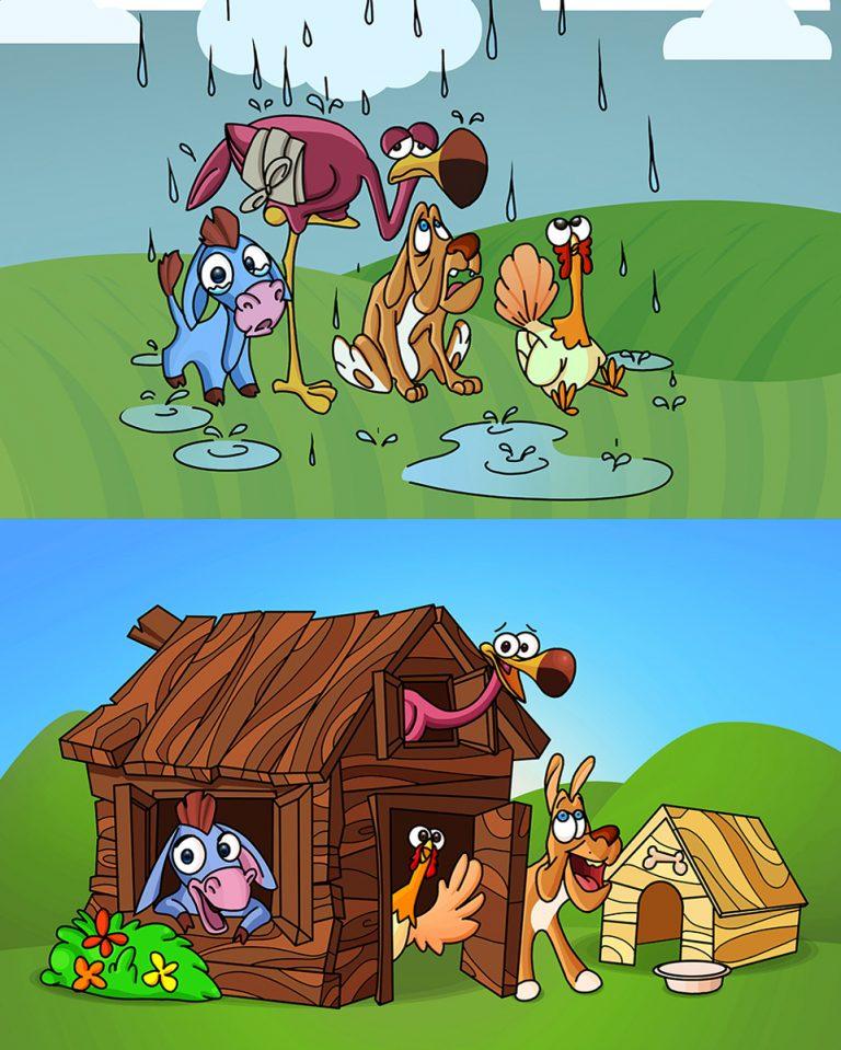 Homeless Animals ( Dog Dunkey Stork Turkey ) Find Shelter - Animal Character Design 2D Vector Illustration
