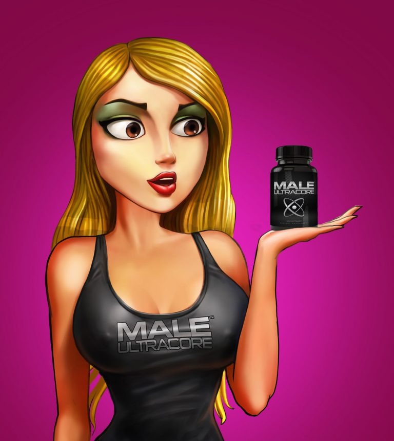 Hot blonde girl holding a bottle of pills - Advertising character design