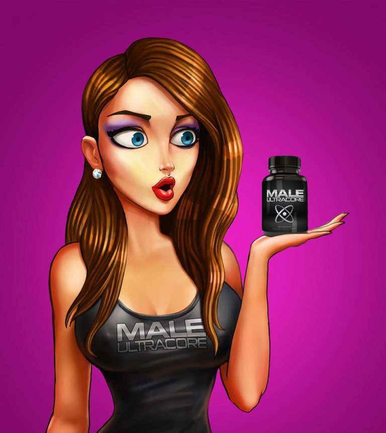 Hot girl holding a bottle of pills - Advertising character design
