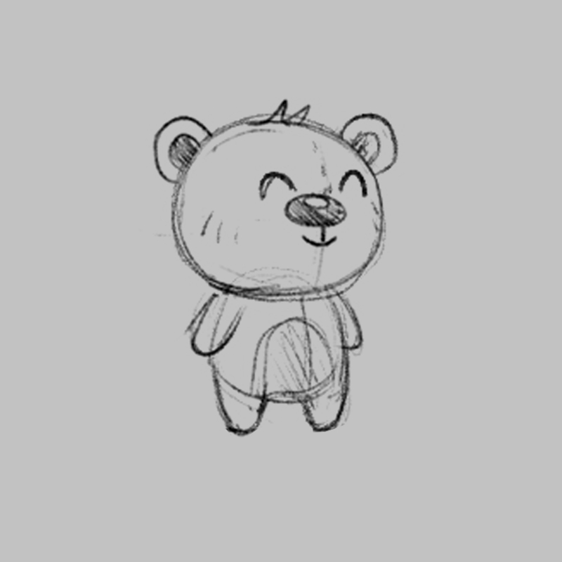 Bear - children's educational game character drawing sketch