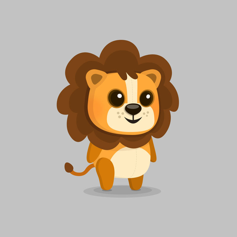 Lion - Children's educational game vector character design