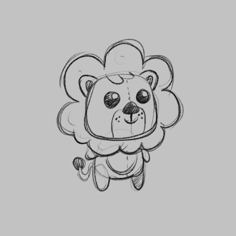 Lion - children's educational game character drawing sketch