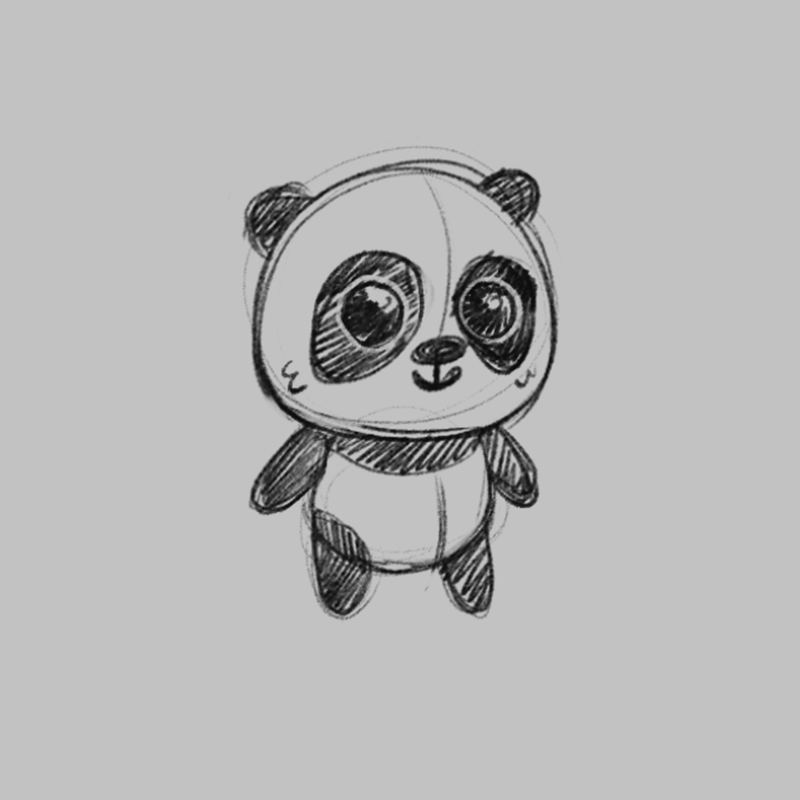 Panda - children's educational game character drawing sketch