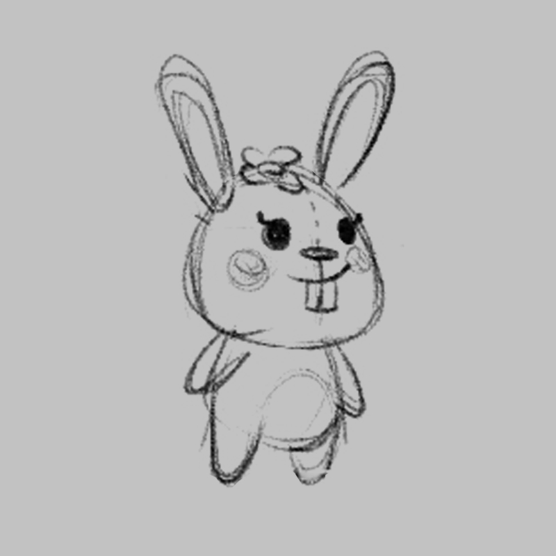 Rabbit - children's educational game character drawing sketch