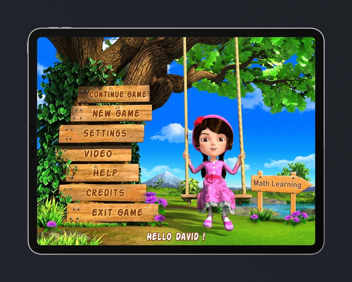Kids Educational Game UI Design Wood Style 1 Main Menu