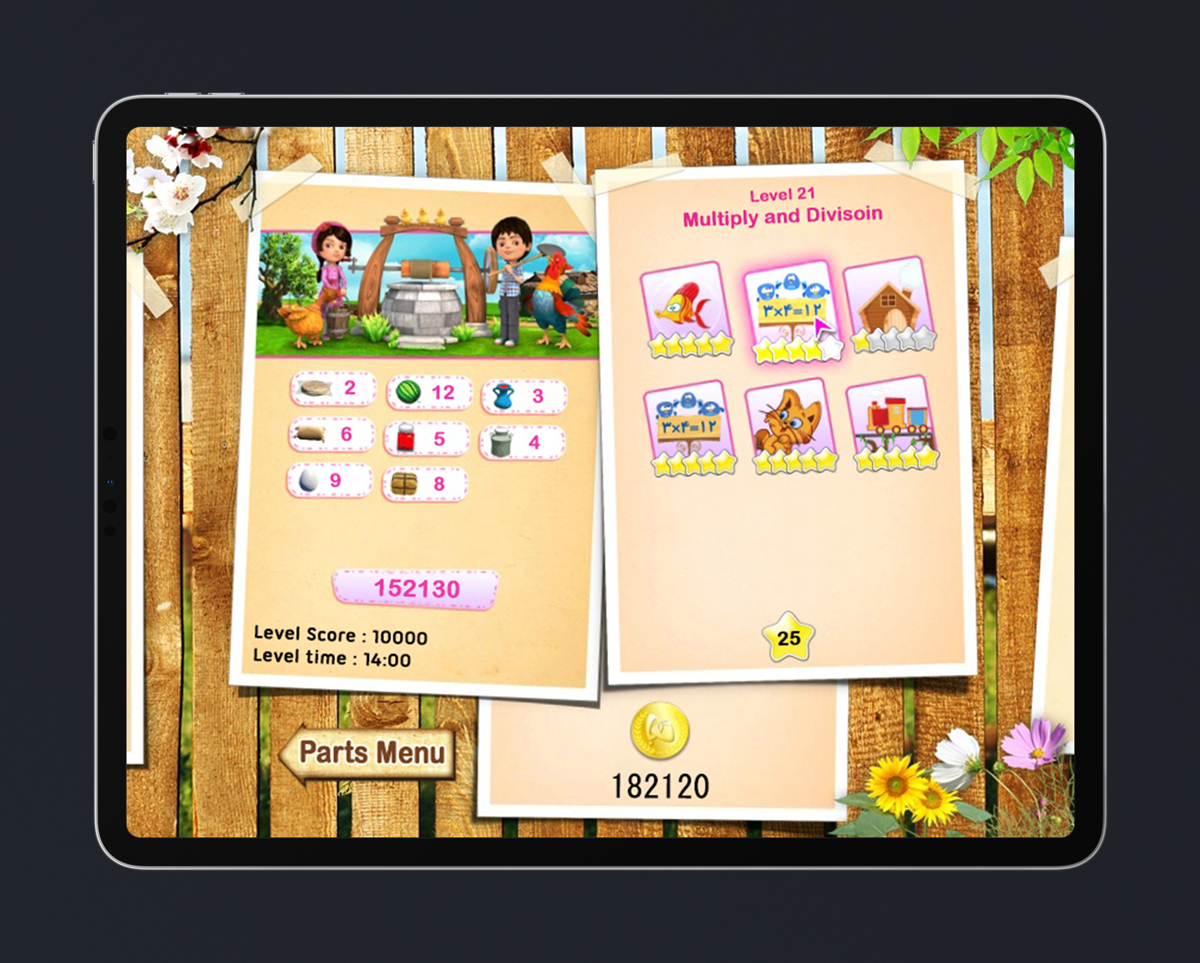 Kids Educational Game UI Design Wood Style 2 Level Select
