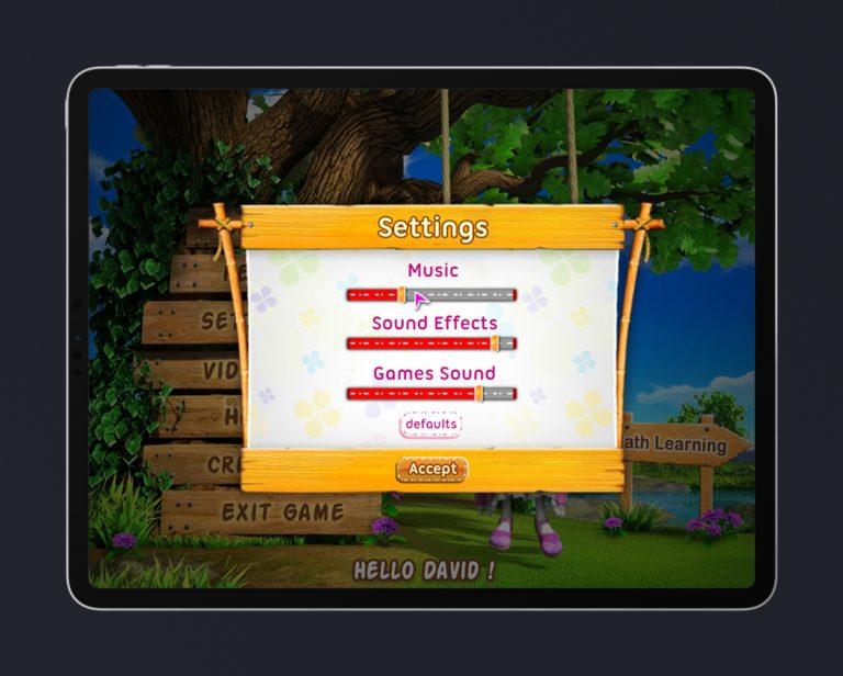 Kids Educational Game UI Design Wood Style 3 Settings