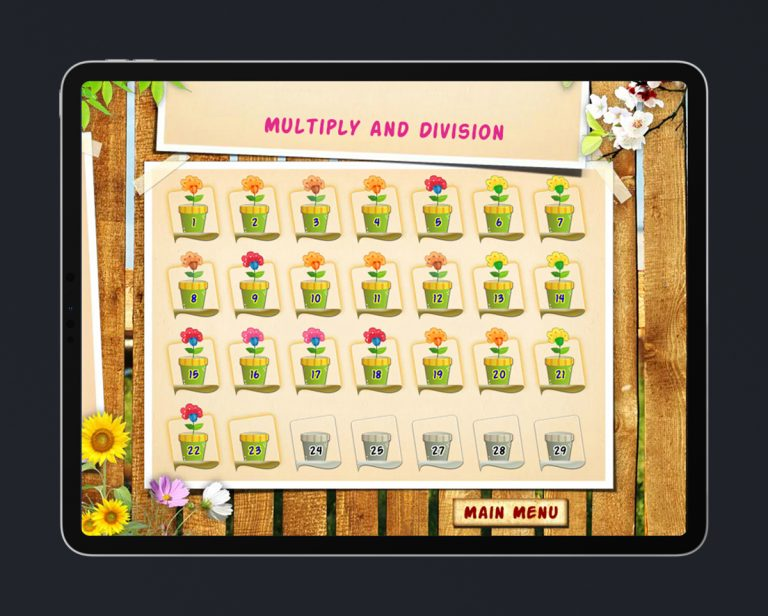 Kids Educational Game UI Design Wood Style 4 Level Select
