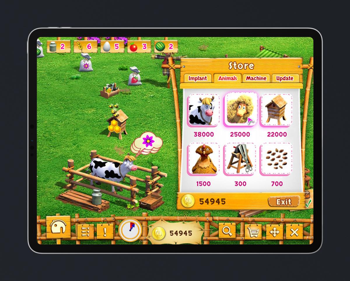 Kids Educational Game UI Design Wood Style 6 Shop