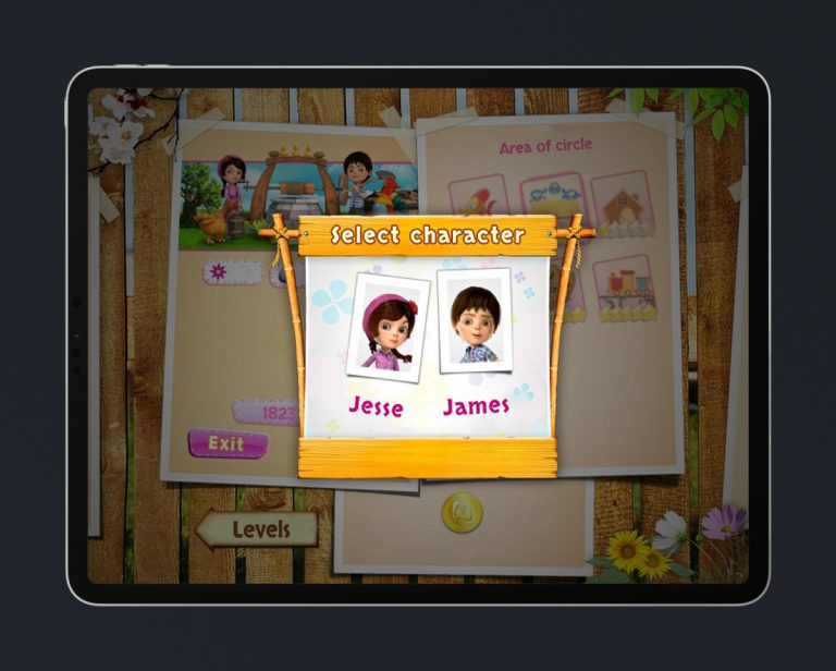 Kids Educational Game UI Design Wood Style 7 Character Select 2